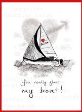 Sailing Yacht Valentines Card